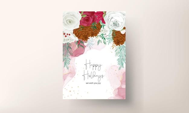 Hand tekenen kerstkaart mooie bloemen en groene bladeren