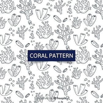Hand tekenen kleurloze koraal achtergrond