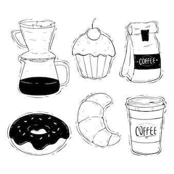 Hand tekenen koffietijd met smakelijke snack
