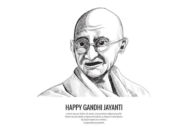 Hand tekenen mahatma gandhi schets voor gandhi jayanti