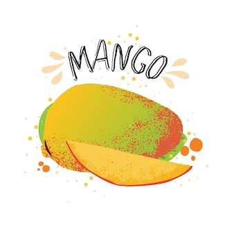 Hand tekenen mango illustratie. gele rijpe mango met sapplons die op witte achtergrond wordt geïsoleerd.