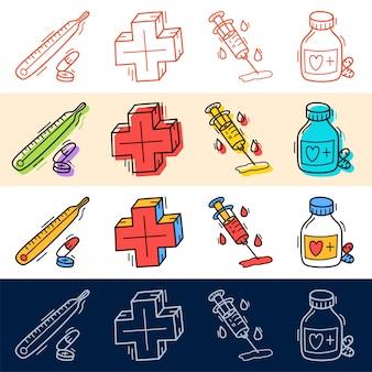 Hand tekenen medische plus, pil pictogrammenset in doodle stijl voor uw ontwerp.