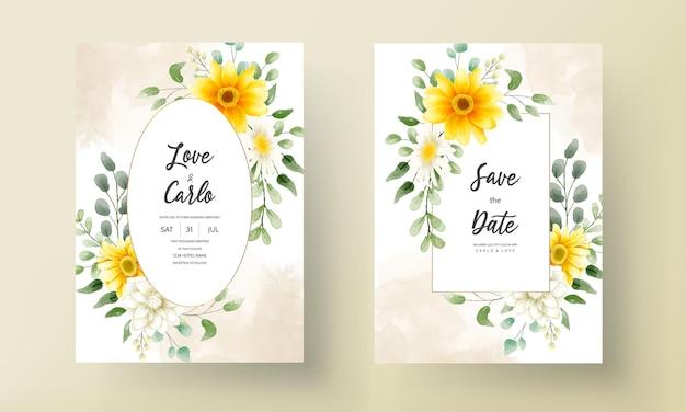 Hand tekenen mooie bloemen bruiloft kaart ontwerp