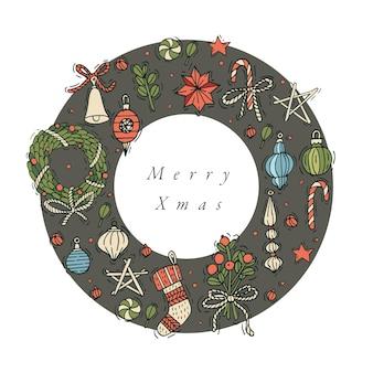 Hand tekenen ontwerp voor kerstgroeten kaart kleurrijke kleur. typografie en pictogram voor xmas-achtergrond, banners of posters en andere printables. wintervakantie ontwerpelementen.