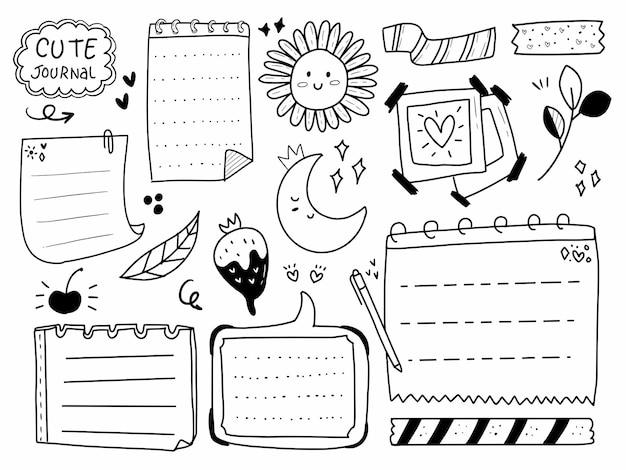 Hand tekenen planner, notities en papier in lijnstijl