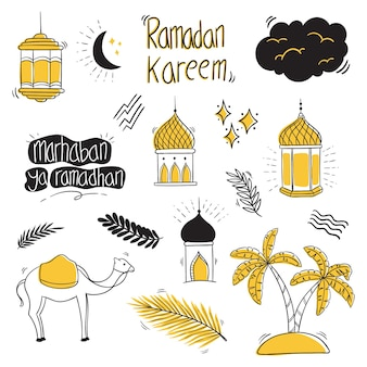 Hand tekenen ramadan kareem collectie