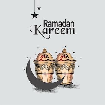 Hand tekenen ramadan mubarak viering wenskaart en achtergrond