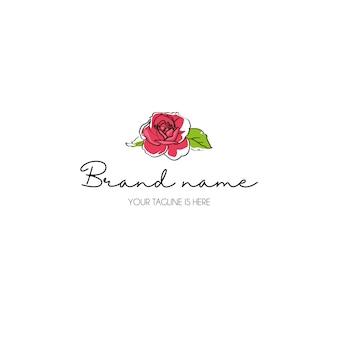Hand tekenen roos logo
