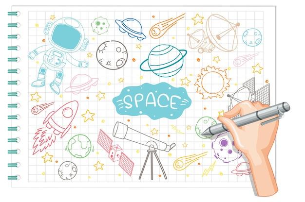 Hand tekenen ruimte element doodle op papier