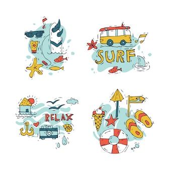 Hand tekenen samenstelling van surfen en zomervakantie