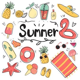 Hand tekenen schattige doodle zomer icooninzameling