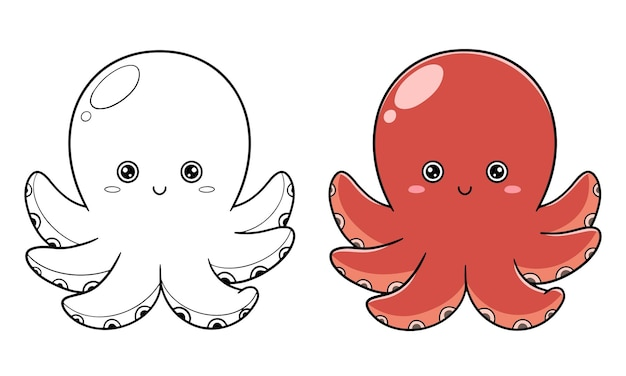 Hand tekenen schattige octopus en kleuren voor kinderen