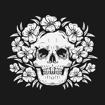 Hand tekenen schedel omgeven door roze bloem vectorillustratie