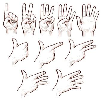 Hand tekenen schets man handen tonen nummers doodle set.