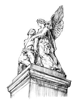 Hand tekenen sculptuur van jezus en maria