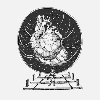 Hand tekenen stenen hart