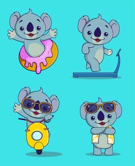 Hand tekenen stijl koala set karakter vector