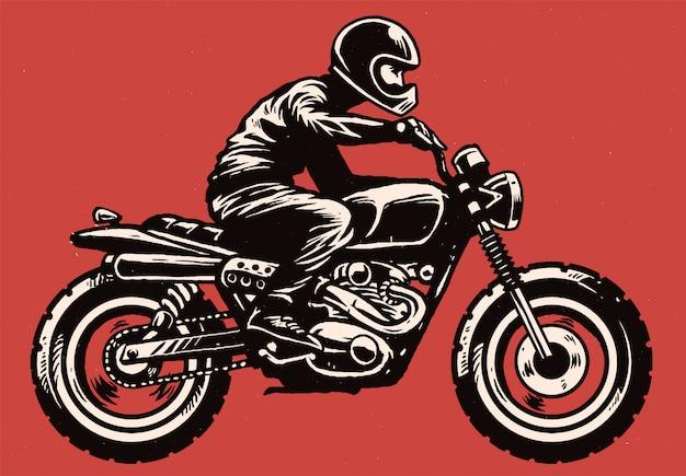 Hand tekenen stijl man scrambler stijl motorfiets rijden