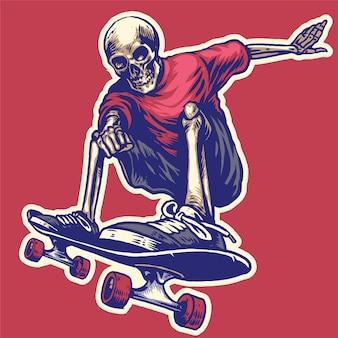 Hand tekenen stijl van schedel rijden op een skateboard