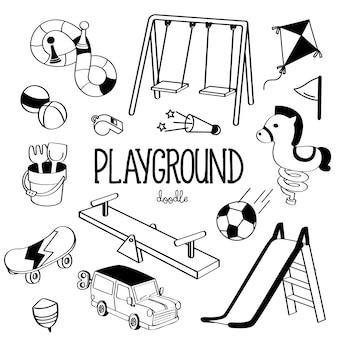 Hand tekenen stijlen speelplaats items