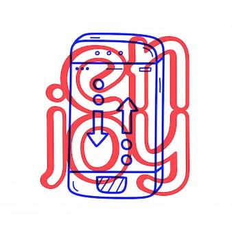 Hand tekenen telefoon gesprek pictogram in doodle stijl met letters.