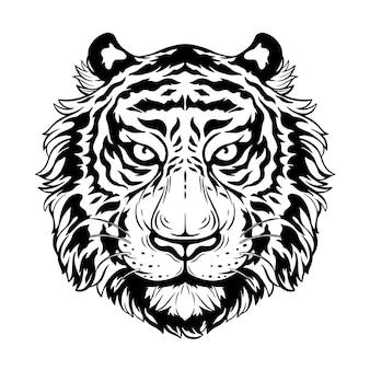 Hand tekenen tijger hoofd met boze uitdrukking