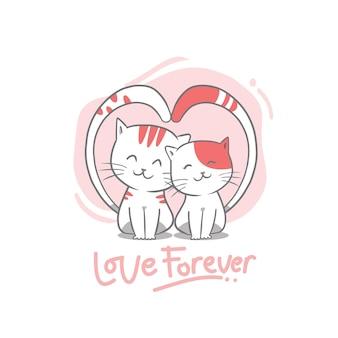 Hand tekenen valentijnsdag kat paar