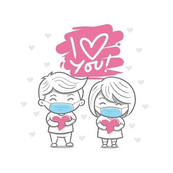 Hand tekenen valentijnsdag paar