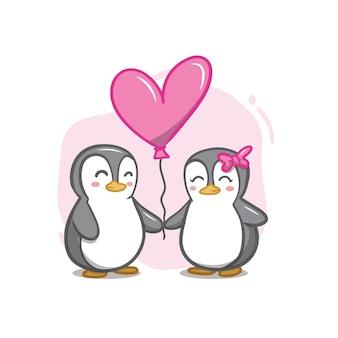 Hand tekenen valentijnsdag pinguïn paar