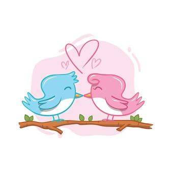 Hand tekenen valentijnsdag vogelpaar