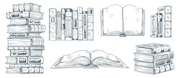 Hand tekenen van boeken. getekende schets van literatuur. school of studenten de illustratieinzameling van het bibliotheekboek