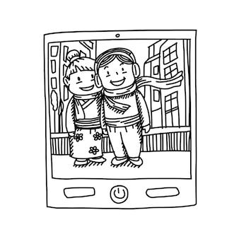 Hand tekenen van cartoon, neem een foto van smartphone