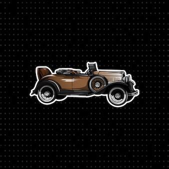 Hand tekenen vintage brown coupe