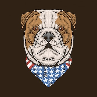 Hand tekenen vintage bulldog amerika bandana vectorillustratie
