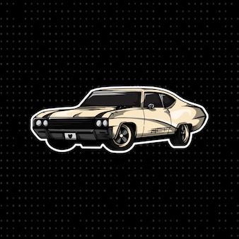 Hand tekenen vintage coupé auto
