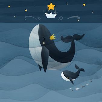 Hand tekenen vintage walvis en baby springen naar de ster vectorillustratie.