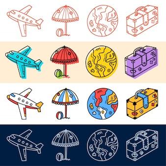 Hand tekenen vliegtuig reizen, aarde pictogrammenset in doodle stijl voor uw ontwerp.