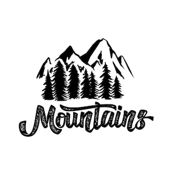 Hand tekenen wildernis typografie poster met bergen en belettering. kunstwerk voor hipster slijtage. illustratie op witte achtergrond