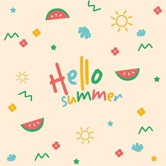 Hand tekenen zomer achtergrond hallo zomer typografie stijl