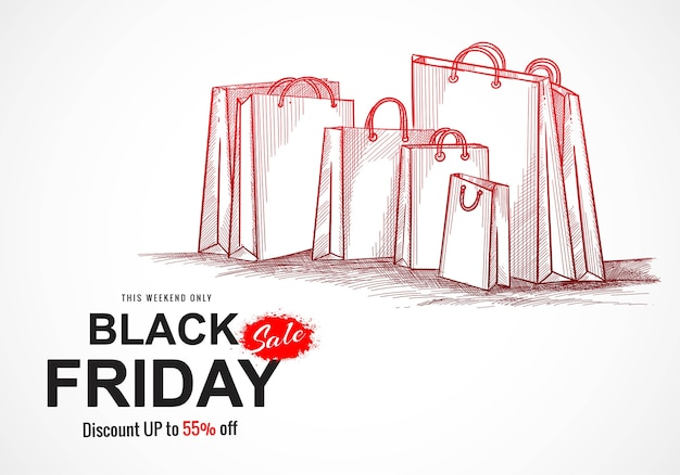 Hand tekenen zwarte vrijdag winkelen verkoop schetsen