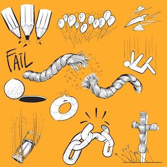 Hand tekening illustratie set mislukken missie