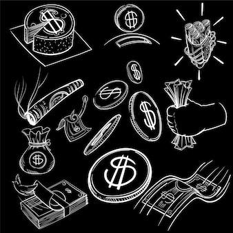 Hand tekening illustratie set van financiën