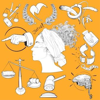 Hand tekening illustratie set van justitie