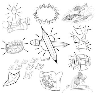 Hand tekening illustratie set van leiderschap