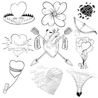 Hand tekening illustratie set van liefde