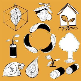 Hand tekening illustratie set van milieu duurzaam