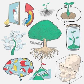 Hand tekening illustratie set van ontwikkeling