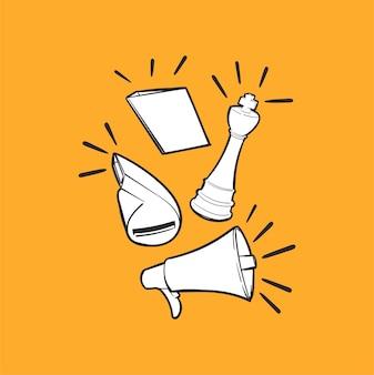 Hand tekening illustratie van leiderschap concept