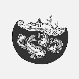 Hand tekening man op boom boven modderig en meerval