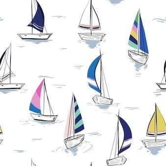 Hand tekening schets naadloze zomer zee patroon